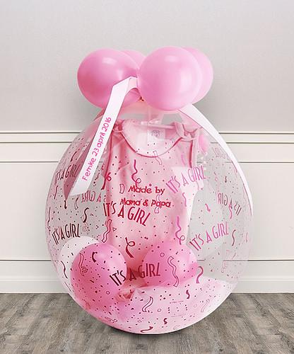 Kadoballon Geboorte Baby Meisje met 25mm Wit Lint met Fuchsia Bedrukt