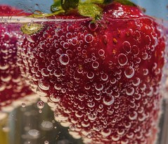 Challenge Wk 19 'Pick Your Color' (figllano) Tags: macro strawberries elements tonicwater