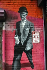 2015-10-03: No Parking, Just Walk (psyxjaw) Tags: street new york city newyorkcity autumn vacation usa holiday newyork man brick art hat wall america painting graffiti high october paint manhattan lastday line brickwall bowlerhat bowler highline spraycan