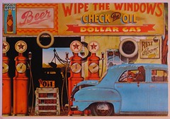 WIPE THE WINDOWS (streamer020nl) Tags: usa beer car musicians t cola postcard garage gas pump card oil vehicle texaco restrooms 1979 papermoongraphics jimevans