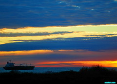 FridayDusk (mcshots) Tags: ocean california winter sunset sea sky usa sun beach nature water colors clouds reflections coast ship dusk stock socal mcshots southbay tanker oiltanker losangelescounty