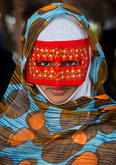 a bandari woman wearing a traditional mask called the burqa at panjshambe bazar thursday market, Hormozgan, Minab, Iran (Eric Lafforgue) Tags: red portrait people woman beauty vertical outdoors gold golden persian clothing eyes asia veil mask iran muslim islam religion hijab culture persia headshot hidden covered iranian bazaar adults adultsonly oneperson traditionaldress burqa customs ethnicity middleeastern frontview sunni burka chador 20sadult youngadultwoman balouch hormozgan onewomanonly lookingatcamera burqua  bandari  embroidering 1people  iro thursdaymarket  minab colourpicture  borqe panjshambebazar boregheh iran034i2676