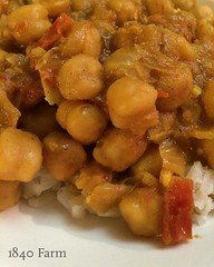"Curried chickpeas over sticky rice are just the sort of comfort food we needed at the farmhouse table tonight.   What's for dinner at your house?  #1840farm #1840farmhousetable365 #familydinner #comfortfood #dinner #curry #chickpea #veg • <a style=""font-size:0.8em;"" href=""http://www.flickr.com/photos/54958436@N05/24048756130/"" target=""_blank"">View on Flickr</a>"