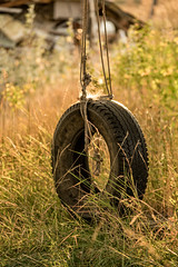 Spider Swing (Rustic Lens Photography) Tags: life light sunset usa abandoned grass playground sunrise vintage golden spider alone sad no web noone tire swing idaho hour lonely fenn
