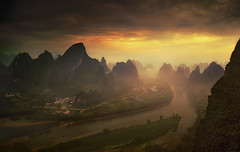 Xianggongshan at Sunrise (Massetti Fabrizio) Tags: china guilin yangshou cina sunrise sun mountain river rural bravo ~themagicofcolours~xii