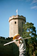 Bow & Castle (Dave Green Photo) Tags: leica blue boy summer sky castle film yellow 50mm dof kodak rangefinder bluesky summicron cap bow shallow warwick portra m6 warwickshire warwickcastle yellowcap agphotographic
