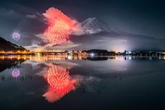 Mt. Fuji and Fireworks Reflected in Kawaguchiko (Yuga Kurita) Tags: winter lake reflection festival japan reflections landscape fuji mt fireworks firework mount fujisan kawaguchi kawaguchiko fujiyama