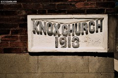 Knox Church 1913 (djhsilver) Tags: urban detail brick tower church stone architecture bay fort masonry william historic steeple copper knox date neogothic thunder neighbourhood fortwilliam cornerstone thunderbay pruden manse