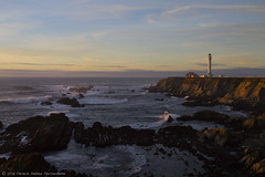 Sweet Light (Patrick Dirden) Tags: ocean california blue light sunset lighthouse water northerncalifornia yellow clouds coast twilight sandstone surf waves purple pacific dusk tide pacificocean coastline bluffs pointarena northcoast pointarenalighthouse mendocinocoast mendocinocounty pointarenaca