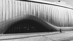 DSCF6316 (koribrus) Tags: door people bw black scale hall blackwhite noir doors fuji expo steel perspective entrance korea fujifilm pavillion stainless yeosu jeollanamdo x100s