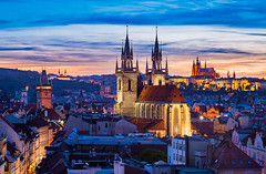 _MG_4799_web - Prague skyline from the Powder Tower (AlexDROP) Tags: city travel sunset urban colour church skyline architecture night czech prague postcard famous praha best bluehour scape picturesque iconic bohemia mustsee 2015 greatphotographers canon6d ef241054lis