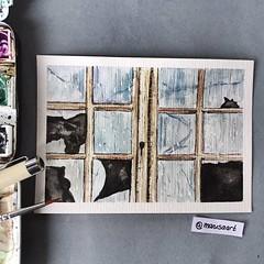 """""""Broken Glass"""" (watercolor postcard) (marusaart) Tags: art window glass watercolor artist fenster postcard brokenglass watercolour glas postkarte aquarell schmincke marusaart"""