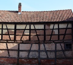 Old half-timbered barn (:Linda:) Tags: barn germany town bluesky thuringia clay halftimbered themar