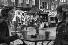 There Be Clowns Amongst Us (sparkeyb) Tags: city bw coffee mono blackwhite nikon clown streetphotography 85mm monotone starbucks fullframe fx clowns essex chelmsford d610 f18d