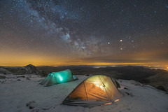 'Summit Camp' - Glyder Fach, Snowdonia (Kristofer Williams) Tags: camp sky mountain snow cold ice wales night stars tents rocks nightscape outdoor hiking adventure astrophotography snowdonia wildcamp findyourepic comet252plinear