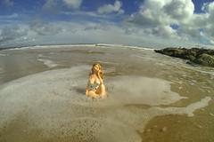 fat lass at sea (Mark Rigler UK) Tags: blue sea england sky girl flesh big sand surf tits boobs fat size suit lass dorset plus sandbanks poole swin