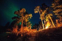 Campfire to heat (Valter Patrial) Tags: trees light forest finland circle lights europe arctic northern auroras inexplore boreais