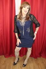 posing in blue (bethany_labelle) Tags: blue black smile dress lace tgirl transvestite crossdresser stilettos