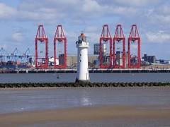 New Brighton Lighthouse (Puerto De Liverpool.) Tags: liverpool cranes wirral newbrighton merseyside seadefences newbrightonlighthouse postpanamax themersey liverpool2 theportofliverpool