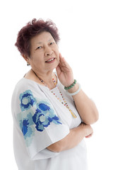 happy elderly woman. Isolated over white background (Nuiiko) Tags: blue portrait woman white senior beautiful beauty smile modern female standing cutout studio asian happy person japanese model pretty adult natural gorgeous chinese fulllength posing happiness blouse whitebackground korean human mature trendy attractive friendly older casual leisure elegant cheerful retired hairstyle isolated confident fashionable middleaged midage plainbackground