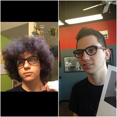 Before and After April 2nd (booboo_babies) Tags: family haircut hair afro son barbershop hairsalon beforeandafter curlyhair april22016