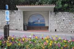 Bus stop at the Albert 1er (zawtowers) Tags: vacation holiday france flower bus painting french spring mural waiting warm riviera break beds albert saturday ctedazur stop april shelter 1er 2016 saintjeancapferrat
