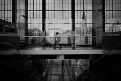...parallelunivers... [explore april 9, 2016] (ines_maria) Tags: vienna windows light sunset bw woman church station silhouette evening layer parallel waitingroom refelction 2016 westbahnhof lazaristenkirche