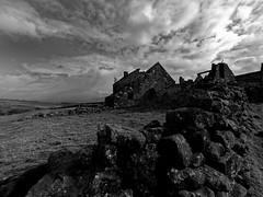 Ruin (northsky) Tags: england sky bw white black building monochrome stone wall clouds landscape mono farm yorkshire north ruin dry moors