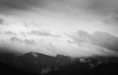 Schauinsland (oliko2) Tags: sky mist mountain monochrome clouds germany landscape blackwhite freiburg blackforest windturbine schauinsland tamron70300 nikond7100