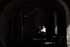 DSC_8473_2615. Waiting for the lunch hour. Due chiacchiere tra amici. (angelodaVerona) Tags: friends two coffee del restaurant liguria cups chef di arcades amici portici ristorante caff due arcs chatter noli lora archi pranzo aspettando tazzine chiacchiere