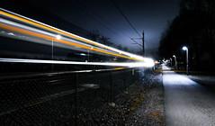 Light Trails (johanwangard) Tags: longexposure light night train exposure sweden trails desaturated lighttrails
