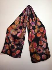 charmeuse scarf (squishythings) Tags: black scarf silkscarf tiedye resist shibori handdyed fiberreactivedye charmeuse aciddye itajime