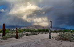 Evening thunderstorm (Thankful!) Tags: road ranch sunset storm mountains gate driveway thunderstorm goldenhour stormclouds easternsierra
