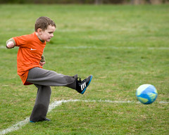 Always in motion (is the future) (DaveLawler) Tags: motion grass ball football kid child kick soccer charlie alwaysinmotionisthefuture