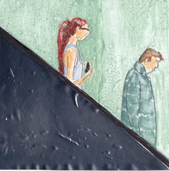 # 115 (24-04-2016) (h e r m a n) Tags: herman illustratie tekening bock oosterhout zwembad 10x10cm 3651tekenevent tegeltje drawing illustration karton carton cardboard roltrap meisjes girl man male escalator movingstaircase beeldbad 2016