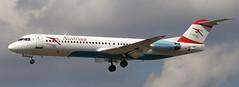 Fokker F-100 OE-LVK (707-348C) Tags: frankfurt f100 passenger tyr fra airliner austrian fokker jetliner eddf austrianarrows fokkerf100 oelvk