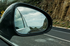 Great Ocean Road in the mirror (Derek Midgley) Tags: car lights mirror australia victoria greatoceanroad dsc01956