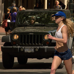Running In Traffic (swong95765) Tags: street city woman lady female exercise jeep running run vehicle runner