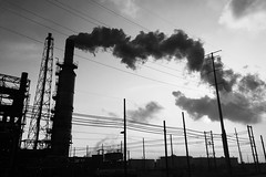 Valero Port Arthur (Mabry Campbell) Tags: blackandwhite usa silhouette photo energy texas image pollution april refinery iphone portarthur 2016 valero