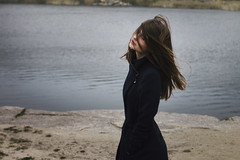 Jeanne (ivankopchenov) Tags: autumn light portrait lake cold cute water girl beautiful hair natural wind young