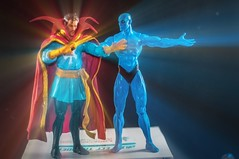 Strange and Manhattan (misterperturbed) Tags: dccomics marvel watchmen defenders avengers doctorstrange drstrange drmanhattan dcdirect marvelselect diamondselect