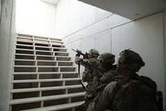 U.S. Army Soldiers assigned to 4th Battalion, 23rd Infantry Regiment, 2nd Brigade Combat Team, 2nd Infantry Division, clear the second floor of a building during Decisive Action Rotation 16-03 at Fort Irwin, Calif., Jan. 28, 2016. (U.S. Army Photo by Spc. (Operations Group, National Training Center) Tags: california usa ntc fortirwin 2ndinfantrydivision 23rdinfantryregiment 2ndbrigadecombatteam 4thbattalion majovedesert spcaustinmriel