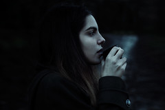 Green tea (Dario Torre) Tags: winter cold girl beauty forest woods tea thermos