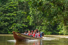 Biologists In The Canoe Crossing Cuyabeno River (kalypsoworldphotography) Tags: park travel people woman man reflection tree green tourism southamerica water smile river happy boat wooden ecuador amazon rainforest whitewater outdoor wildlife scenic paddle reserve peaceful canoe national jungle tropical vegetation editorial destination guide wilderness eco narrow climate rainfall lifejacket cuyabeno amazonian dense amazonia lightweight paddler