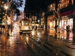 Reflections (morozgrafix) Tags: sanfrancisco reflection rain lights evening downtown cablecar powell 2fb