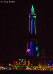 Show Boat (JKmedia) Tags: street sky people tower lamp wheel silhouette festival night reflections lights sand colours power transport illuminations tram rail artificial celebration electricity pedestrians manmade handheld vehicle annual colourful tramway blackpool afterdark powered blackpooltower 2015 canoneos7d boultonphotography
