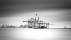 Port Of Rotterdam (barryvanede) Tags: longexposure 2 bw white seascape water monochrome clouds mono blackwhite rotterdam nikon long exposure ship harbour 14 smooth nederland noordzee ede le lee barry nd van filters maasvlakte stops nd110 barryvanede