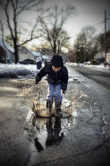 Nailed It (Silverio Photography) Tags: winter portrait water photoshop canon fun puddle elements pancake 24mm hdr topaz adjust