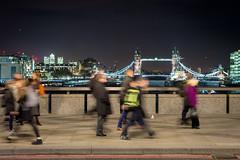 The commute (Mister Rad) Tags: people london towerbridge londonbridge motionblur commute canarywharf cityoflondon nikond600 nikon50mmf14g