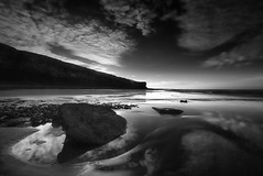 """ ONLY ONE ROCK POOL "" (Wiffsmiff23) Tags: reflection beach monochrome rock sphinx reflections rocks dramatic cliffs drama epic rockpool traeth nashpoint welshsphinx heritagecoastlinesouthwales"
